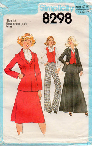 ca62eadc15e Simplicity 8298 Womens Wide Lapel Jacket Skirt Maxi Pants & Vest 70s  Vintage Sewing Pattern Size 12 Bust 34 inches