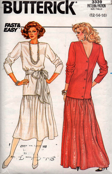 Butterick 3339 80s skirt and top