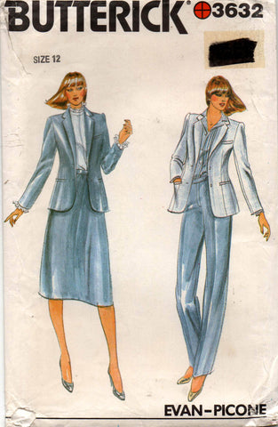 Butterick 3632 designer 80s skirt pants jacket