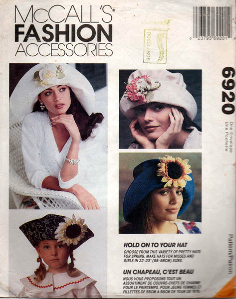 15deac93bb4 McCall s 6920 Womens   Girls Sun Hats 90s Vintage Sewing Pattern Head