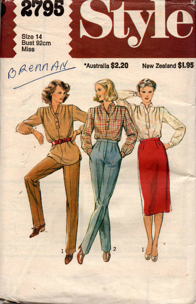 5fbed4c976 Style 2795 Womens Blouse Straight Skirt & Pleated Pants 70s Vintage Se
