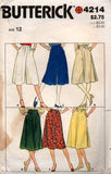 butterick 4214 skirts and culottes 80s