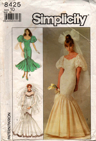 simplicity 8425 80s wedding dress