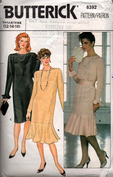 Butterick 6392 Womens Flounced Hem Drop Waisted Dress 80s Vintage Sewing Pattern Size 12 14 16 Bust 34 36 38 inches