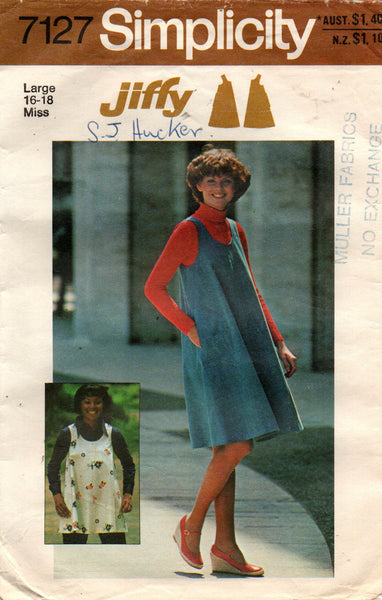 Simplicity 7127 Womens JIFFY Tent Top or Dress 1970s Vintage Sewing Pattern Size LARGE