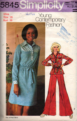 simplicity 5845 dress top and flares 70s
