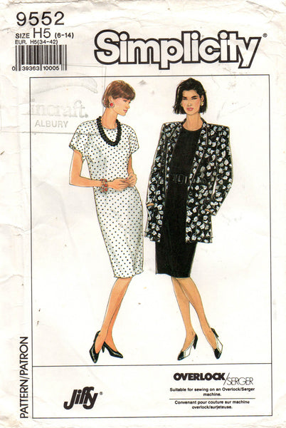 simplicity 9552 easy 80s dress and jacket