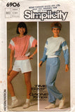 Simplicity 6906 Womens Stretch Active Wear T Shirt Sweatshirt Shorts & Pants 80s Vintage Sewing Pattern Size SMALL or MEDIUM Factory Folded