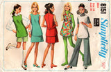 Simplicity 8151 Womens Tunic Pants Shorts & Skirt 60s Vintage Sewing Pattern Size 14 Bust 36 Inches