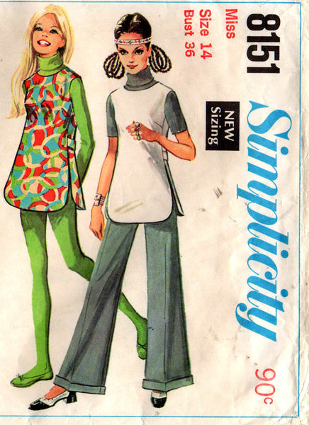 simplicity 8151 tunic skirt shorts pants 60s