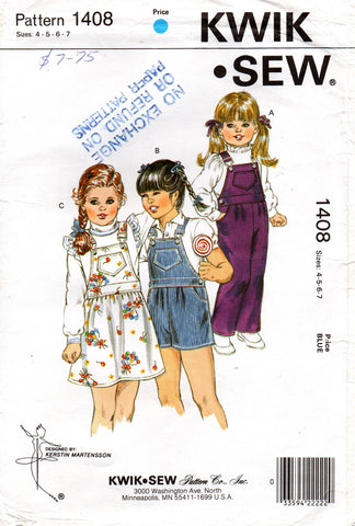 kwik sew 1408 girls suspender skirt and dungarees 80s