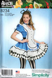 Simplicity 8234 Womens Cosplay Alice In Wonderland Costume Sewing Pattern Size 6 - 14 or 14 - 22 UNCUT Factory Folded