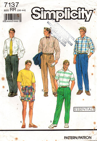simplicity 7137 mens 90s pants and shorts
