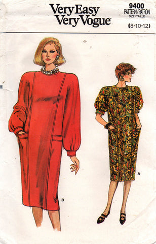 Very Easy Vogue 9400 Womens Straight Dress 80s Vintage Sewing Pattern Size  8 10 12 UNCUT Factory Folds 502e5d0c92e5