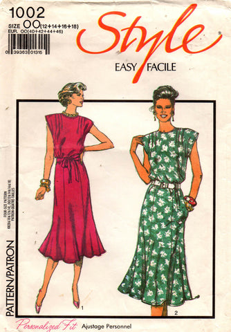 Style 1002 Womens Cap Sleeved Dress 80s Vintage Sewing Pattern Size 12 - 18 2c8398fa9