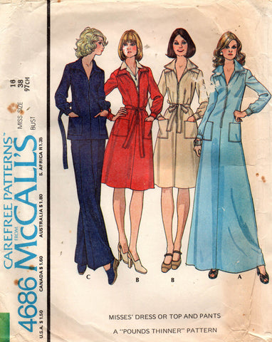 McCall's 4686 70s dress top and pants