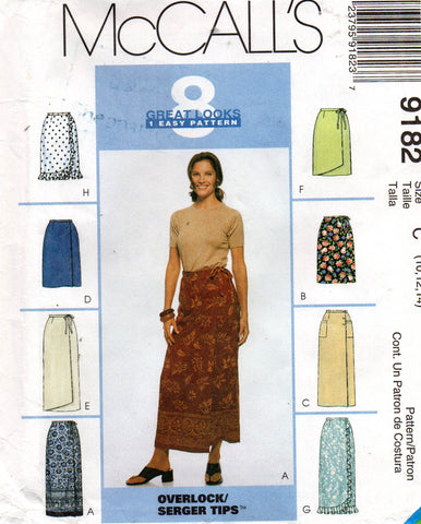 McCall's 9182 Womens Easy Wrap Skirts 90s Vintage Sewing Pattern Size 10 12 14 UNCUT Factory Folds