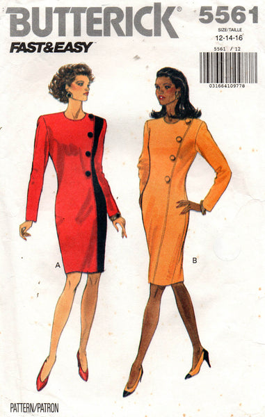 butterick 5561 side buttoned 90s dress