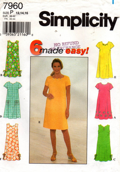ad7f6f978 Simplicity 7960 Womens EASY Shift Dresses 90s Vintage Sewing Pattern S
