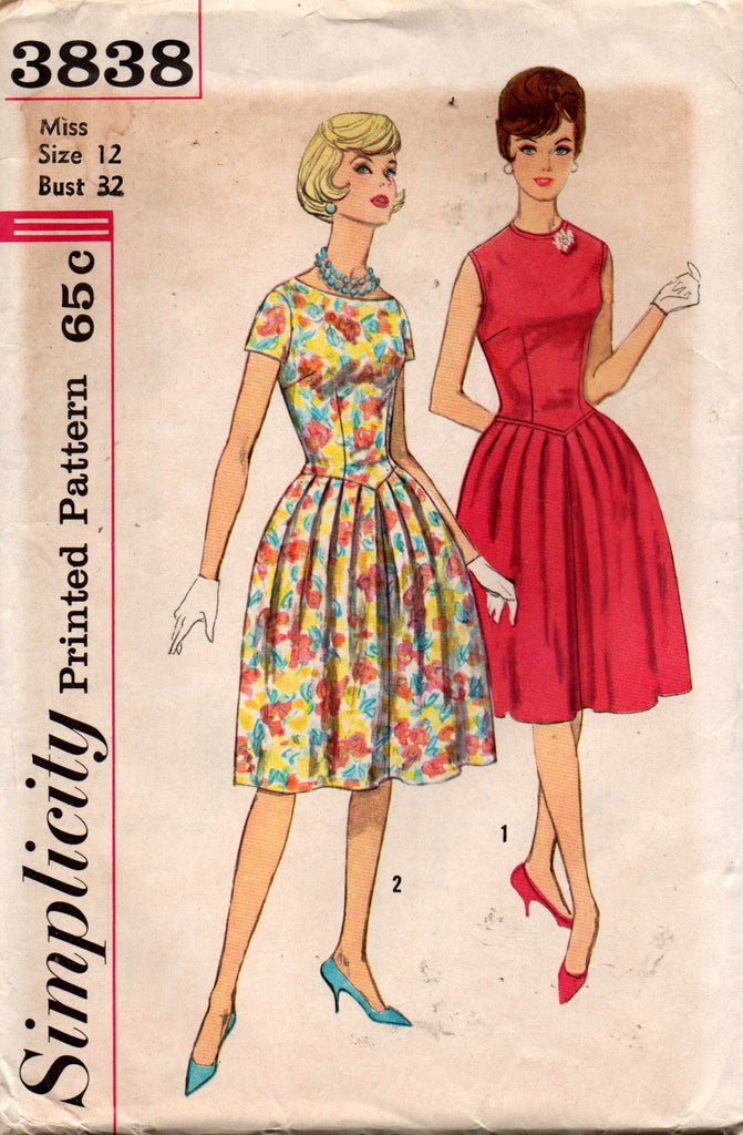 Simplicity 3838 Womens Full Skirt Dress with Inverted Pleats 60s Vintage Sewing Pattern Size 12 Bust 32 inches UNCUT Factory Folded