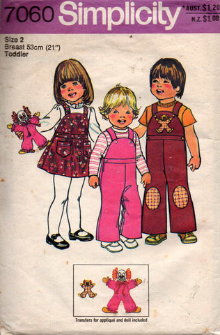 toddlers dungarees jumper and clown doll