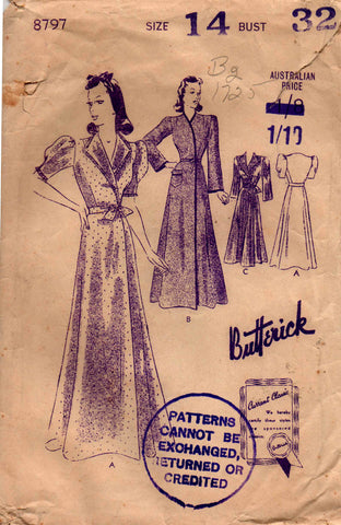 Butterick 8797 Womens House Coat with Neckline and Sleeve Variations 1940s Vintage Sewing Pattern Size 14 Bust 32 inches