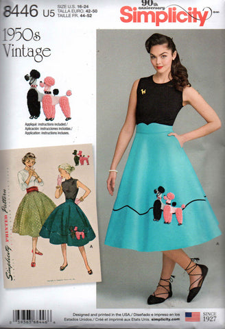 Simplicity 8446 Womens Poodle Skirt with Detachable Cummerbund Repro 1950s Sewing Pattern Sizes 16 - 24 UNCUT Factory Folded