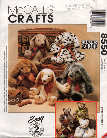 McCall's 8550 soft toys cat dog