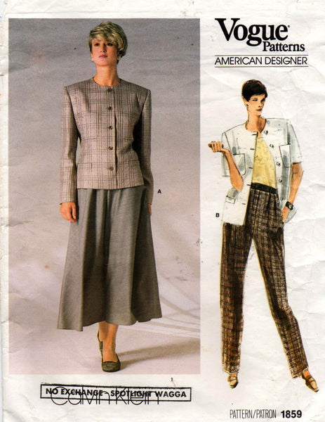 Vogue 1859 80s skirt pants jacket