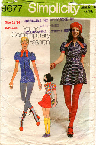 70s Simplicity 9677 Kawaii Cute Mini Jumpsuit & Wrap Skirt Vintage Sewing Pattern Bust 33 1/2 inches Size 13/14 Young Junior Teen