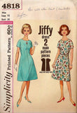 Simplicity 4818 Womens JIFFY Shift Dress 1960s Vintage Sewing Pattern Size 14 Bust 34 Inches