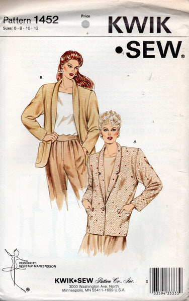 Kwik Sew 1452 Womens Blazer Style Jackets 1980s Vintage Sewing Pattern Bust 32.5 - 37 Inches UNCUT Factory Folded