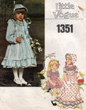 vogue 1351 girls dress and bonnet