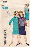Vogue 5951 Sub Teen Girls Pullover Top Blouse & Skirt 1960s Vintage Sewing Pattern Size 10