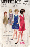 Butterick 4072 Girls Jumper Dress with Pleats & Pockets 1960s Vintage Sewing Pattern Size 6 Breast 24 inches