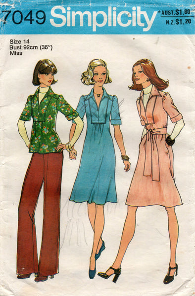 simplicity 7049 70s dress and top