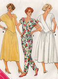 Butterick 3699 Womens EASY Back Wrapped Drop Waisted Dress & Jumpsuit 1980s Vintage Sewing Pattern Size 12 Bust 34 Inches