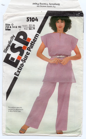 Simplicity 5104 Womens EASY Pullover Tunic & Pants 1980s Vintage Sewing Pattern Size 12 - 16 UNCUT Factory Folded