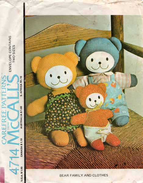 McCall's 4714 teddy bears 1970s