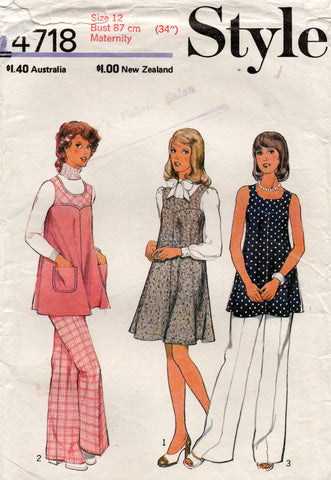 Style 4718 Womens Maternity Pinafore Dress Tunic Top & Pants 1970s Vintage Sewing Pattern Size 12 Bust 34 inches