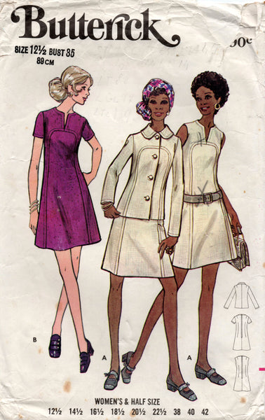 butterick 5865 70s dress and jacket