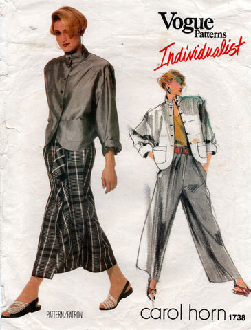 Vogue Individualist 1738 CAROL HORN Womens High Waisted Pants Skirt & Shaped Jacket 1980s Vintage Sewing Pattern Size 12 Bust 34 inches
