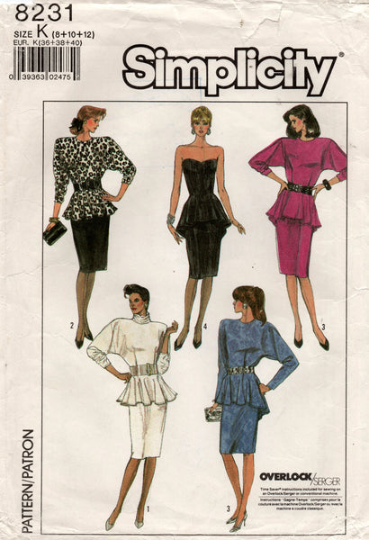Simplicity 8231 Womens Peplum Dress 1980s Vintage Sewing Pattern Sizes 8, 10