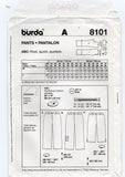 Burda 8101 PLUS Size Womens Hipster Pants or Jeans OOP Sewing Pattern Sizes 18 - 30 UNCUT Factory Folds