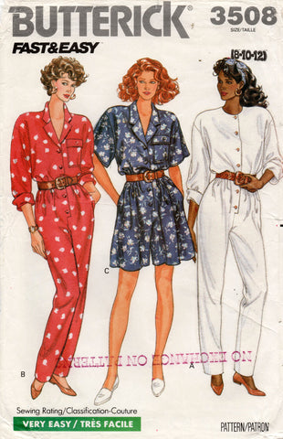 butterick 3508 80s jumpsuit