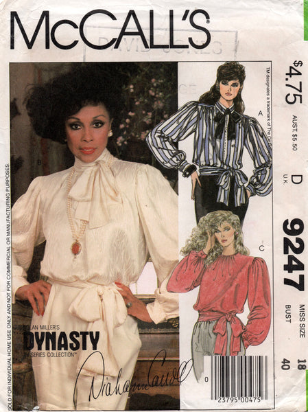 McCall's 9247 Womens DYNASTY Big Sleeved Blouse 1980s Vintage Sewing Pattern Size 18 Bust 40 inches UNCUT Factory Folds