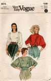 Very Easy Vogue 8375 Womens Dolman Sleeved Pullover Tops 1980s Vintage Sewing Pattern Size 18 - 22 UNCUT Factory Folded