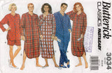 Butterick 3034 EASY Unisex Pyjamas Nightshirt & Shorts 1990s Vintage Sewing Pattern XS S M UNCUT Factory Folded