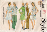 Style 4201 Womens Dress Tunic & Wide Leg Pants 1970s Vintage Sewing Pattern Size 12 or 14