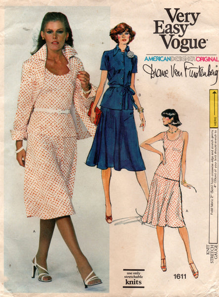 Vogue 1611 DVF top jacket skirt 70s